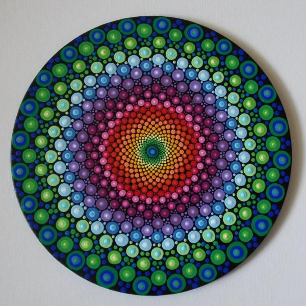 Rainbow Dot Mandala 10in. Original Recycled