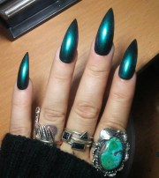stiletto nails long holographic