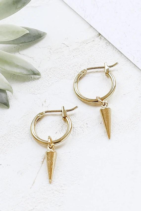 Eddie Earrings Small Hoop Earrings Spike Hoop Earrings