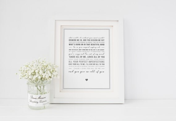 John Legend 'All Of Me' Song Lyric Print Lyrics Wall