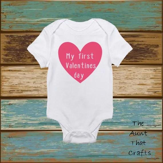 My First Valentines Day Baby Onesie By TheAuntThatCrafts