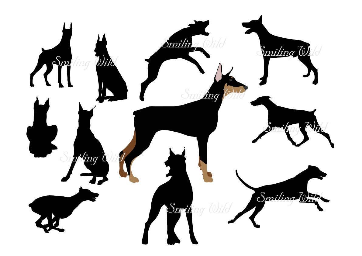 Doberman Pinscher Svg Clipart Silhouette Dog Cutout