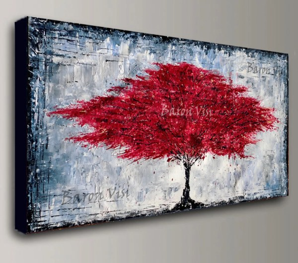 Abstract Painting Acrylic Red Tree Wall Art Home Office