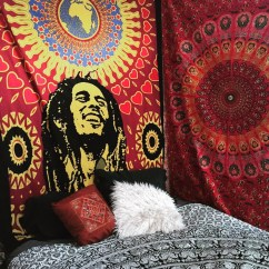Tantra Chair Ebay Pressed Back Kitchen Chairs Bob Marely One World Face Tapestry Hippie Backdrop