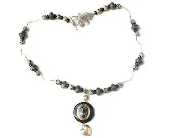 Lariat Necklace Natural Grey Pearls Black Leather Cord