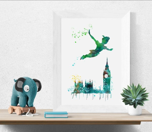 Peter Pan Watercolor Prints Ink Disney Art Print