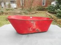 Antique Tin Baby Bathtub Bath Tub Metal Red Handles on Ends