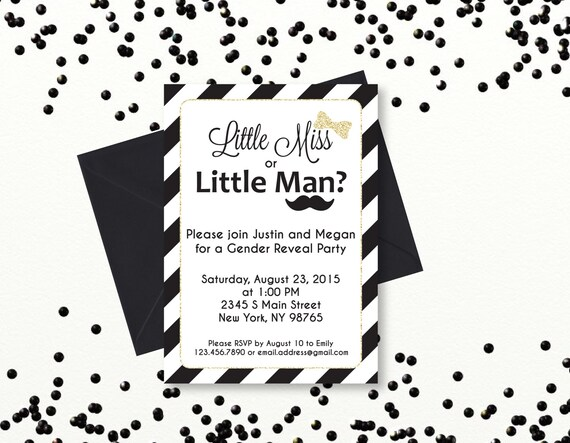 Black and White Gender Reveal Party Invitation Boy or Girl