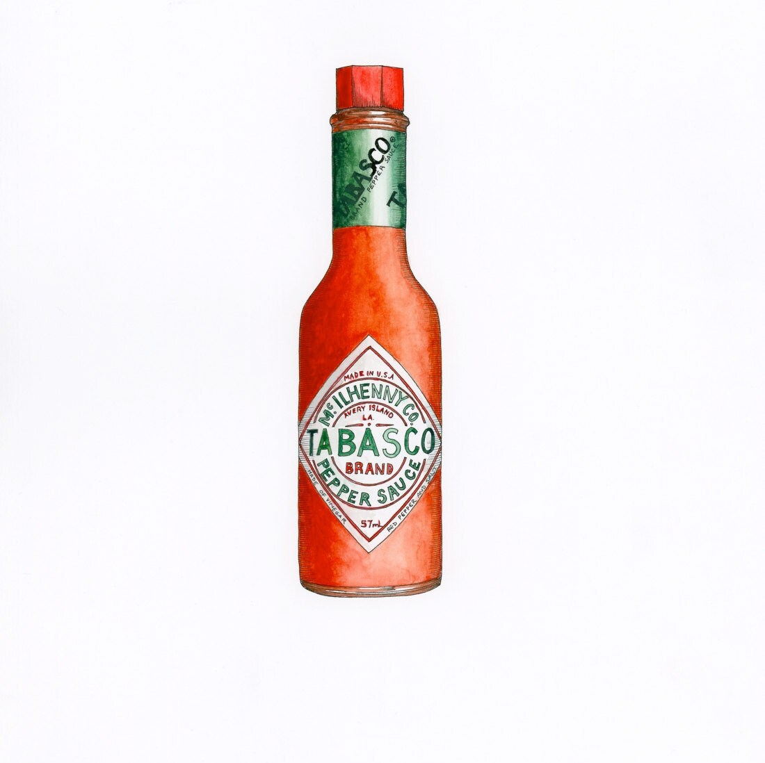 Tabasco Gicle Print Hot Sauce Food Art Kitchen Art
