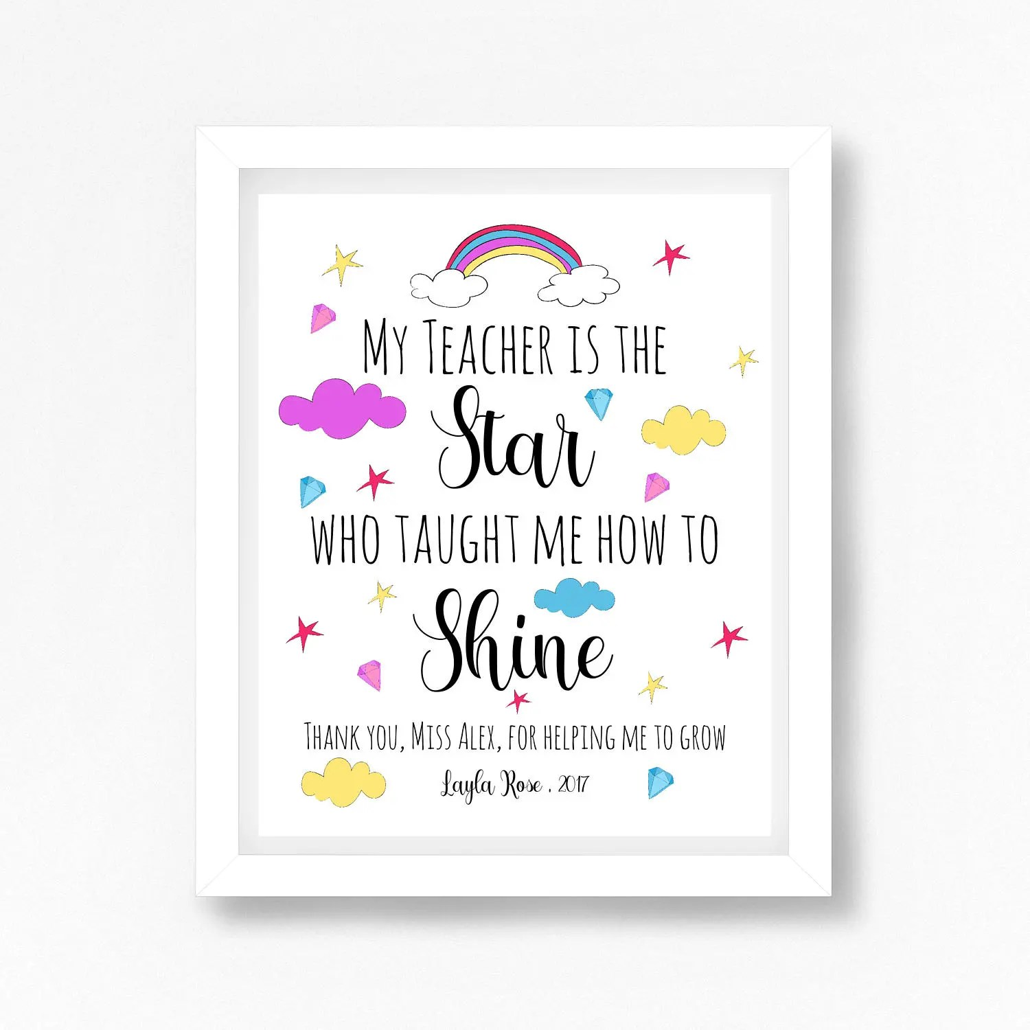 Personalised Teacher Gift Teacher Gift Thank You Teacher