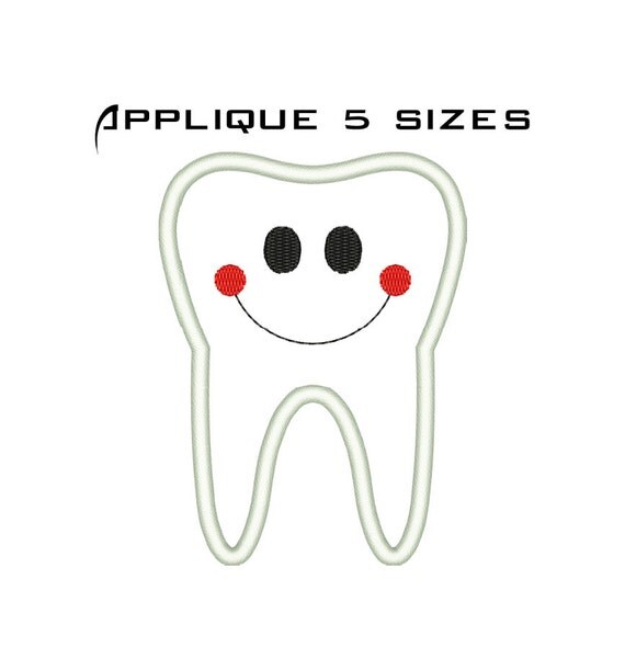 Tooth Embroidery Design Machine Embroidery Tooth Applique