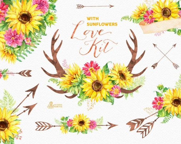 love kit with sunflowers. watercolor