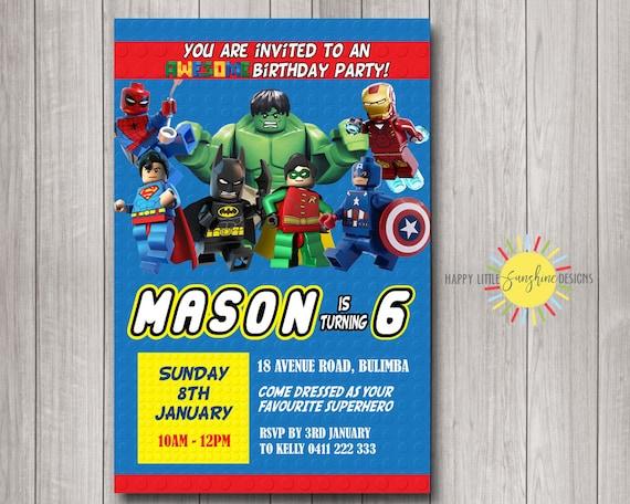 Lego Superheroes Custom Printable Boy Birthday Invitation Any
