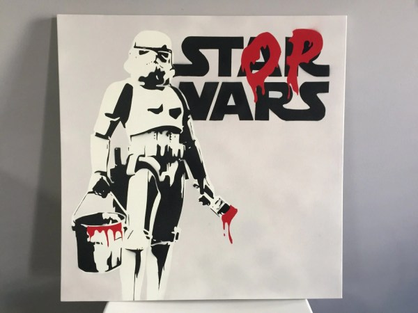 Banksy Stop Wars Star Spray Paint Canvas