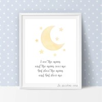 Yellow moon nursery decor Baby room art Moon print Nursery