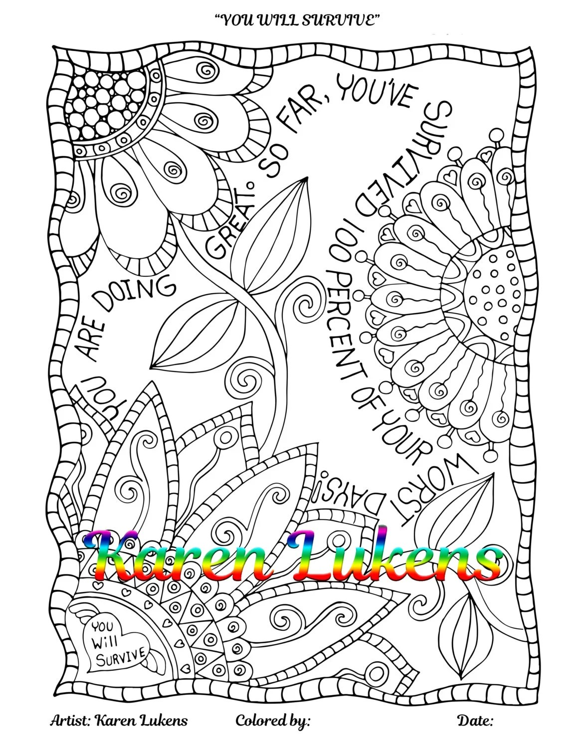 YOU WILL SURVIVE Quote by Karen Lukens 1 Adult Coloring Book