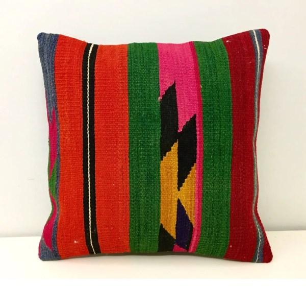 Kilim Pillow 16x16 Turkish Rug Boho