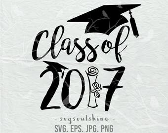 Senior SVG Class of 2017 Graduation Cap Gown Tassel Proud