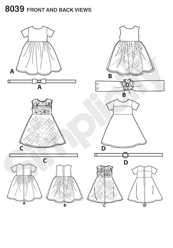 Simplicity 8039 American Girl Party Dress Doll Clothes