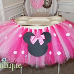 Mickey Mouse High Chair Decorations Increase Height Minnie Tutu Birthday Party
