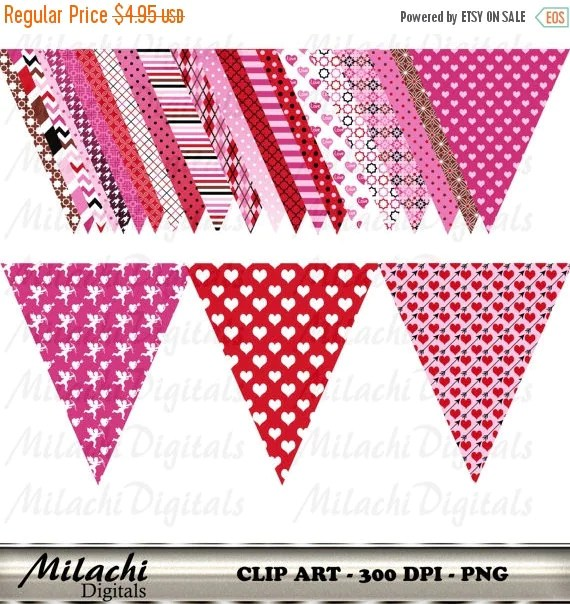 60 OFF SALE Valentine39s Day Triangle Flag Banner Clip Art