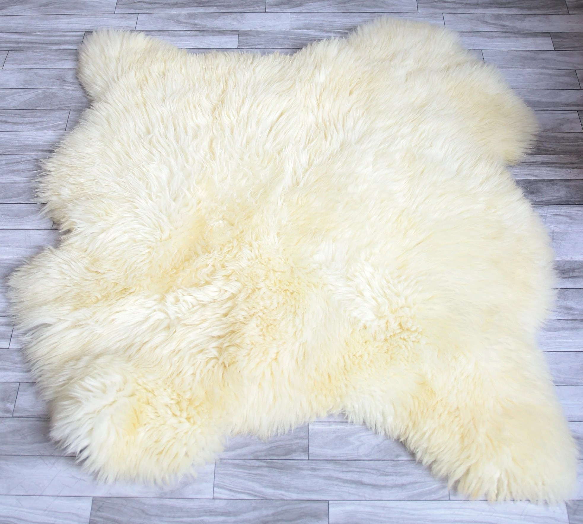 sheepskin rug on chair red high heel sale double white shaggy