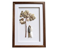 Wedding art gift idea Pebble art wall decor Unique
