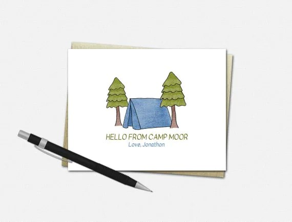 Personalized Camp Note Cards for Boys