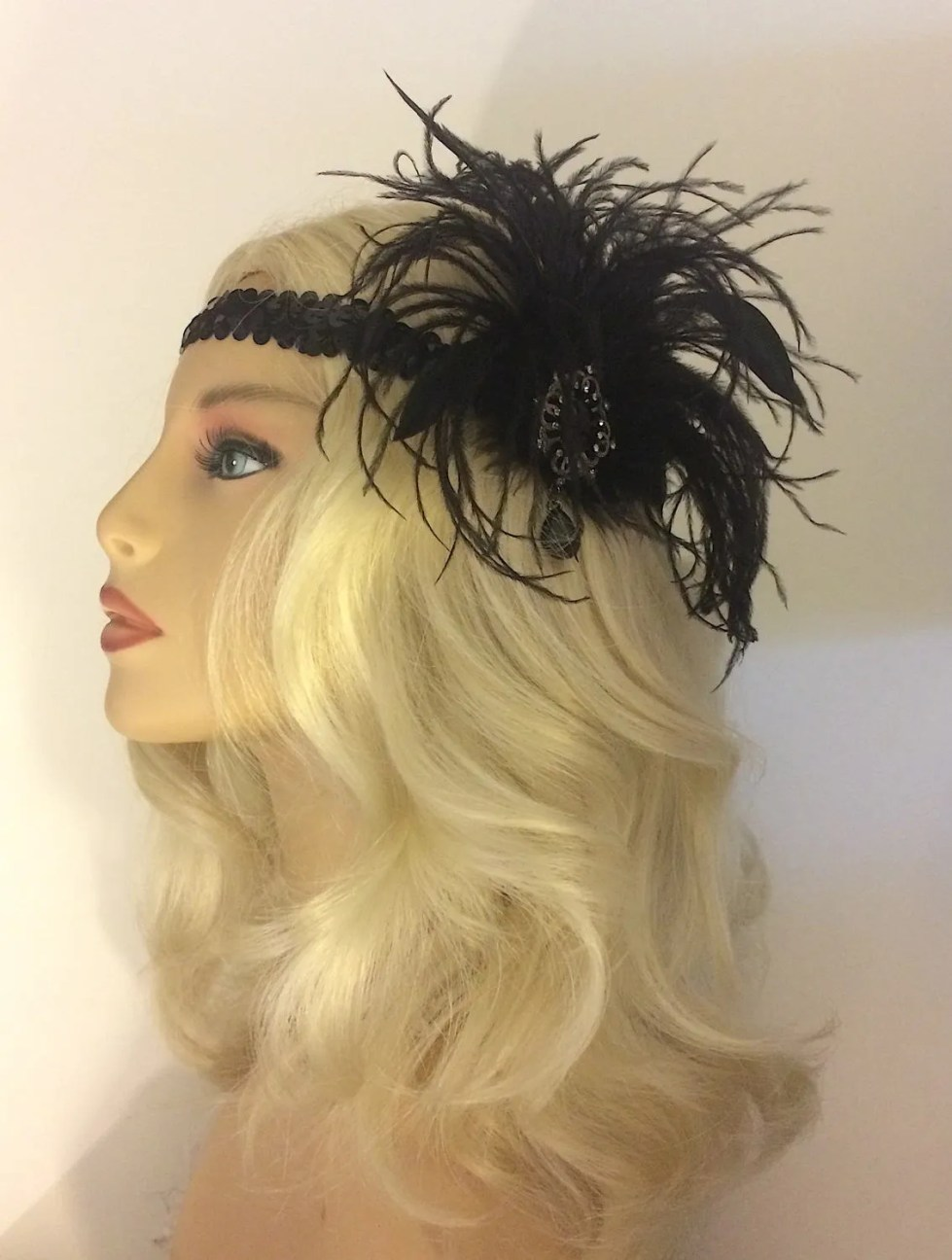 Great Gatsby Headband, Speakeasy, Art Deco Flapper Headband, 1920s Headpiece, 1920s Flapper,Gunmetal Brooch Headband, Black