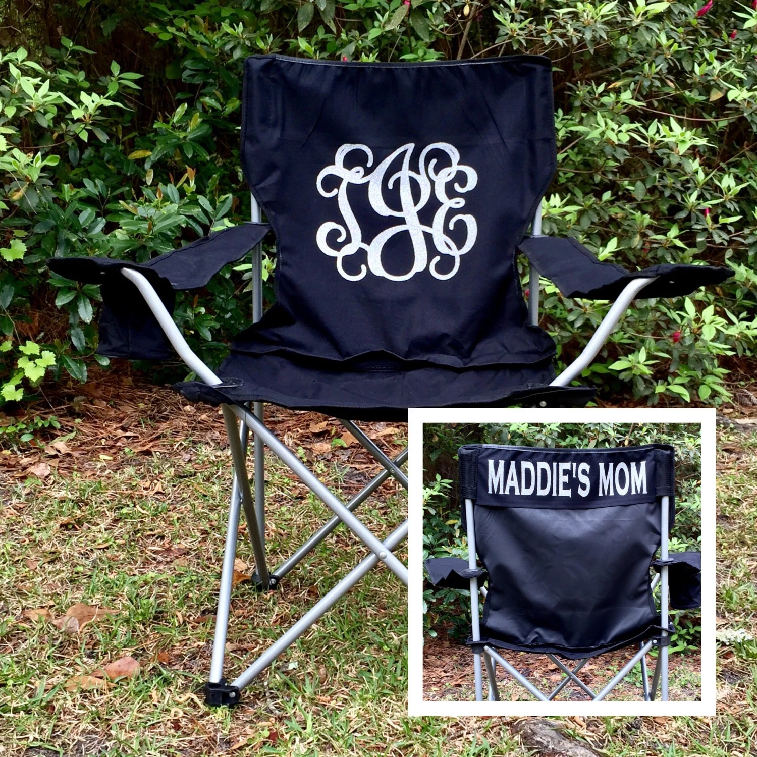 folding chair embroidered difference between shower and tub transfer bench monogrammed camp softball baseball