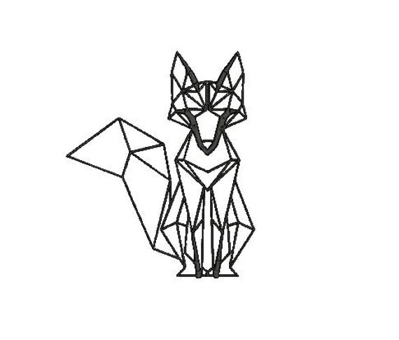 Fox Geometric Embroidery Design File for Boy Girl