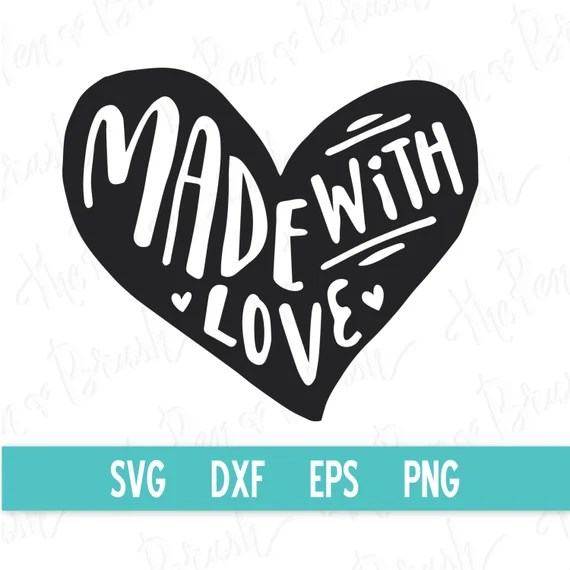 Download SVG: Made with Love Heart Clip Art // Digital Graphics