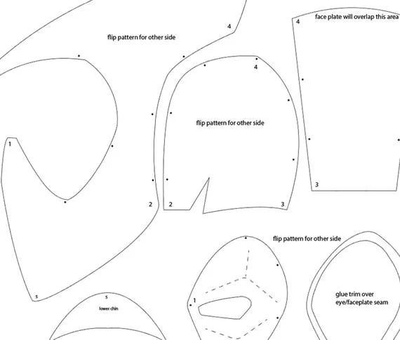 Deadpool foam helmet templates from XiengProd on Etsy Studio