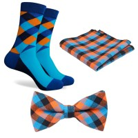 Matching Mens Socks BowTie & Pocket Square Aqua Blue Orange