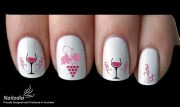 wine glass grape drink nail art