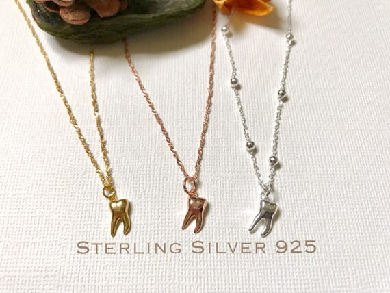 Sterling silver tooth necklace