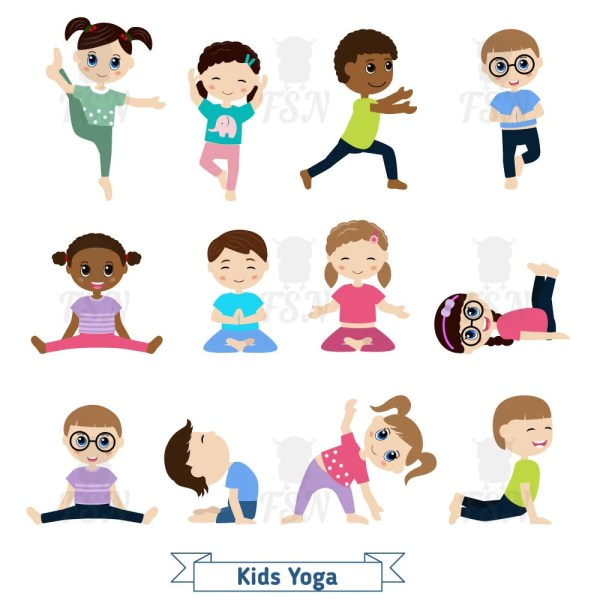 Kids Yoga In Positions. Digital Clipart