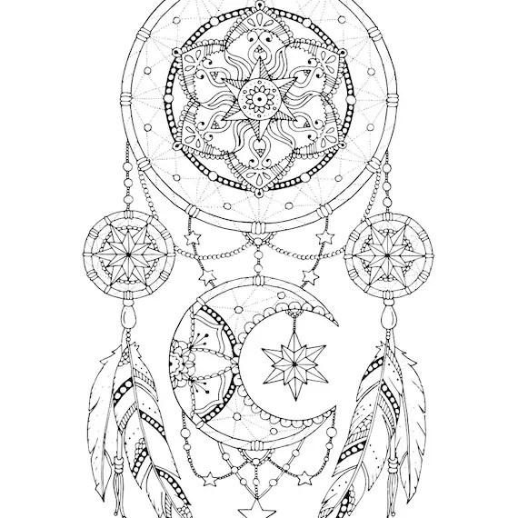 Dreamcatcher kleurplaat pagina voor volwassenen Mandala