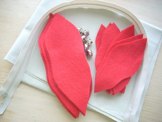 felt red poinsettia on neutral 16 x 16 Pillow Cover KIT - FREE SHIPPING