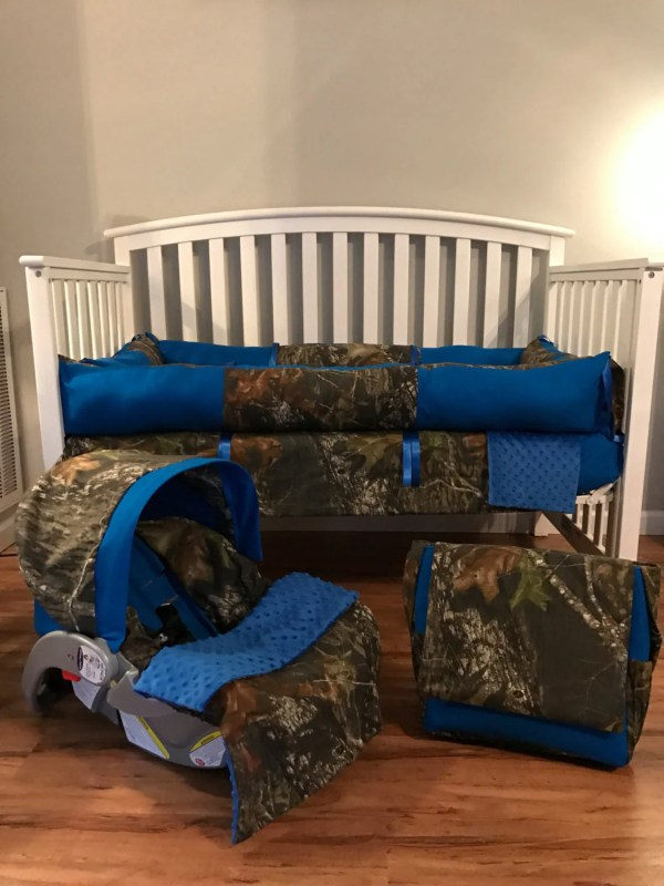 6pc Nursery Set Crib With Mossy Oak Camo Fabric
