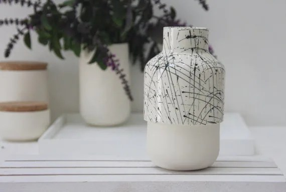 Ceramic vase in white and black lines pattern.Ceramic bud vase, ceramic vase, small vase,wedding gift, housewarming gift,kitchen decor