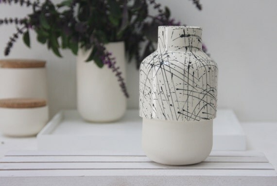Ceramic vase in white and black lines pattern.Ceramic bud vase, ceramic vase, small vase,wedding gift, housewarming gift,kitchen decor