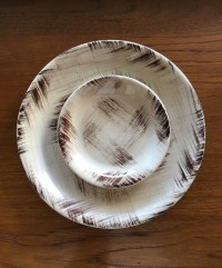 1950s rare Barkwood Vernonware dinner plate and salad plate