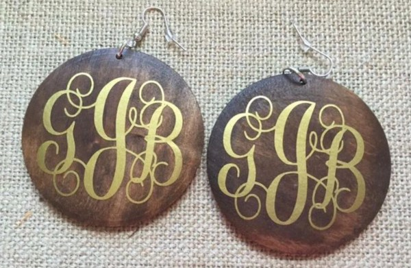 2.25 Wood Dangle Earrings Blank Monogram