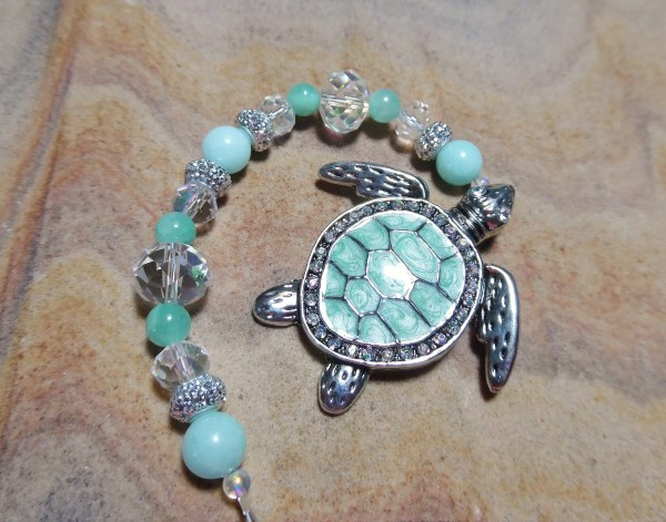 Rear View Mirror Charm Turtle Car Aquamarine Crystal