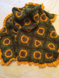 MADE TO ORDER Afghan Crochet Sunflower Baby Blanket