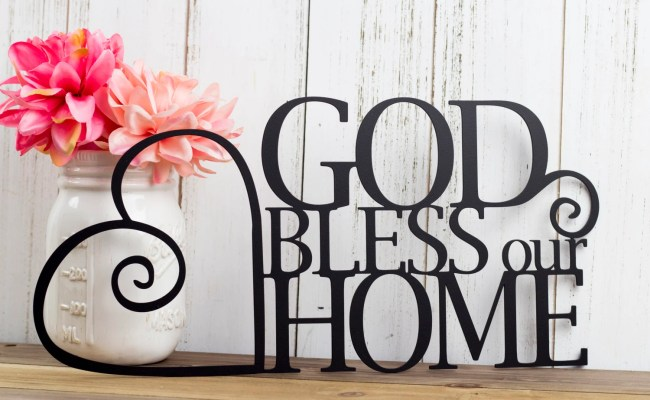 God Bless Our Home Metal Sign Heart Religious Decor God