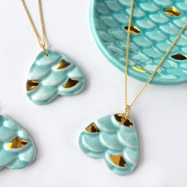 Mermaid Necklace Ceramic and Gold Modern Mud Ceramic