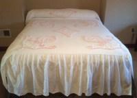 Vintage White Chenille Bedspread Pink White Tufted Design