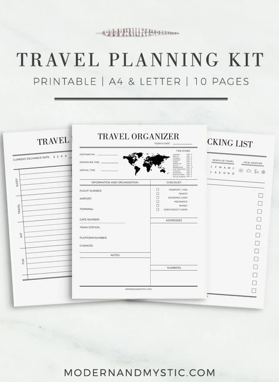 Travel Journal A4 & Letter Size Travel Planner Travel Packing